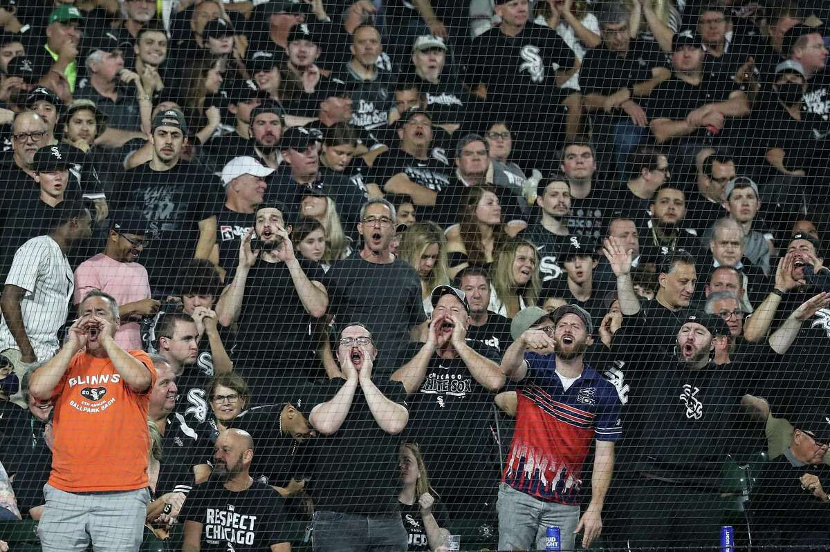 White Sox fans expressed their antagonism for Astros second baseman Jose Altuve as he came to the plate during the sixth inning of Sunday night's Game 3 of the American League Division Series at Guaranteed Rate Field in Chicago.