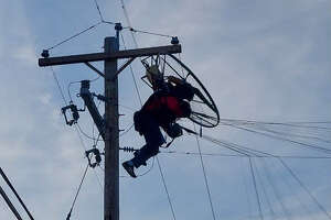 A person flying an alternative craft was trapped in power lines outside Indian Ladder Farms on Oct. 11, 2021.