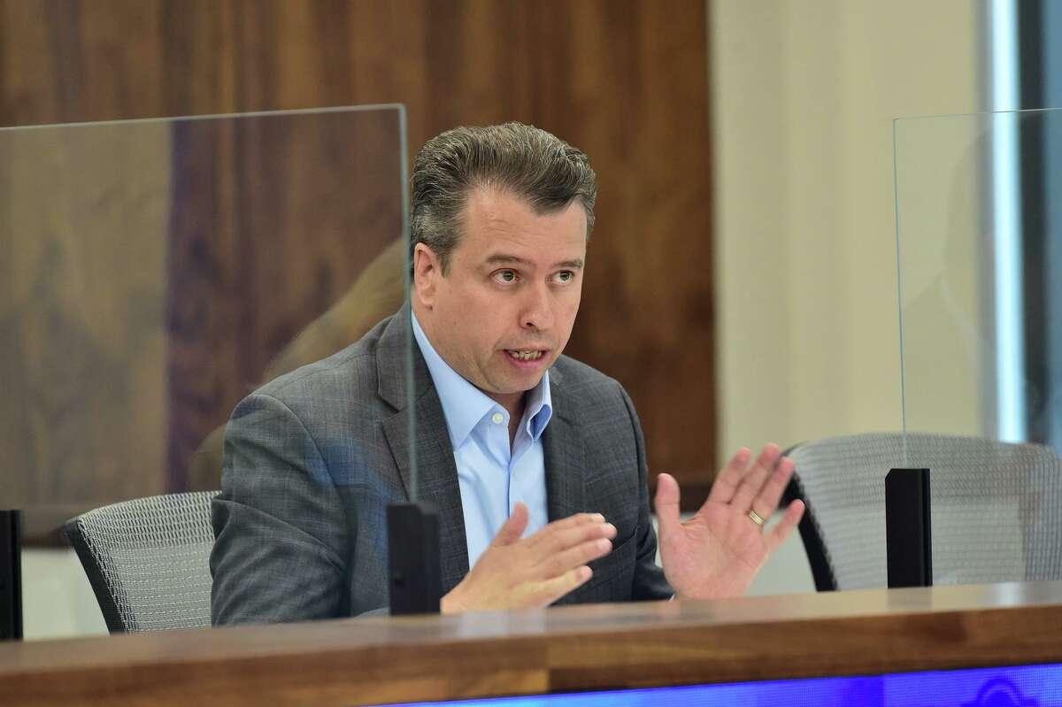 Former San Antonio Independent School District Superintendent Pedro Martinez speaks during a recent SAISD board meeting.