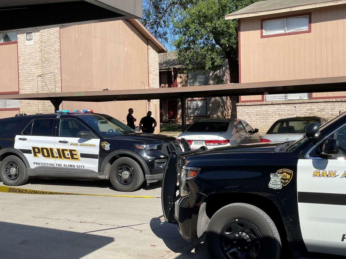 San Antonio police investigate a shooting that left three injured Monday afternoon, Oct. 11, at an apartment in the 4000 block of East Southcross Boulevard.