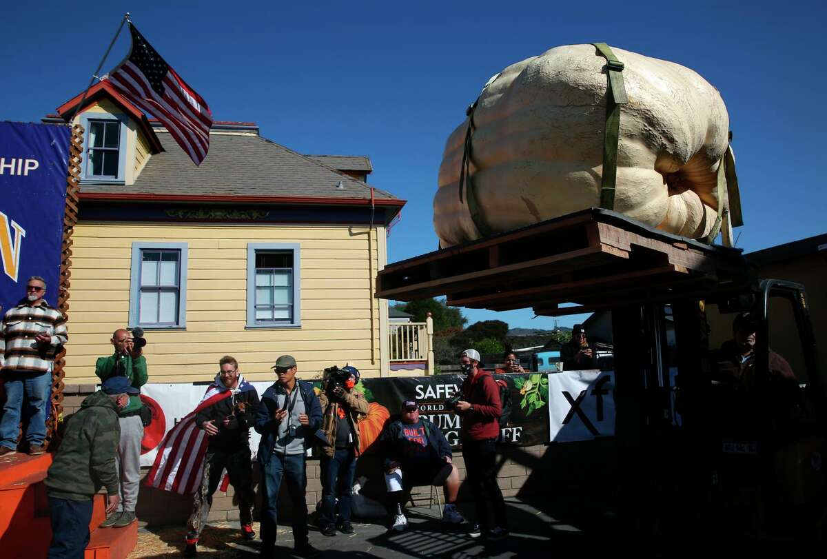 A pumpkin is transported to the scale to be weighed as people watch during the 48th Safeway World Championship Pumpkin Weigh-Off on Monday, October11,2021 in Half Moon Bay,, Calif.