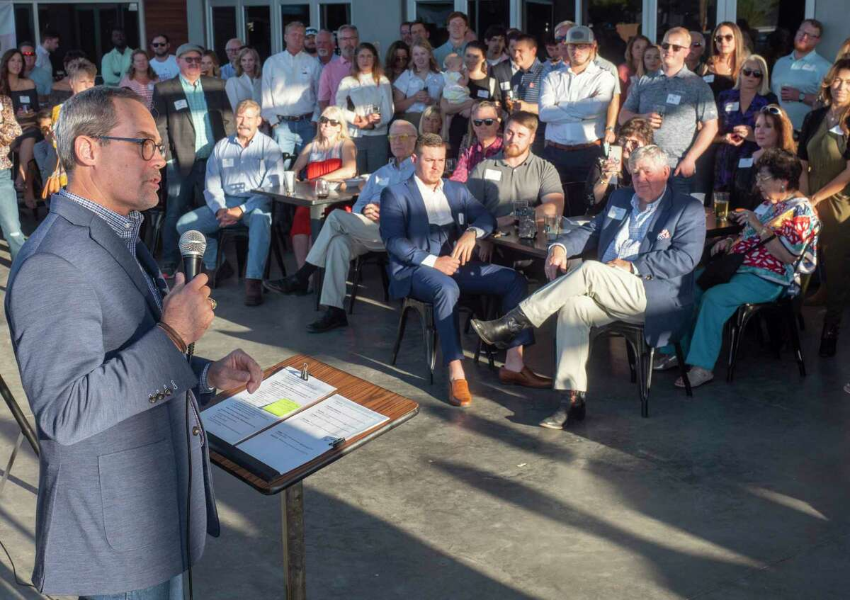 Kevin Sparks talks about his plans 10/11/2021 after officially announcing his run for the Texas Senate at Tall City Brewery. Tim Fischer/Reporter-Telegram
