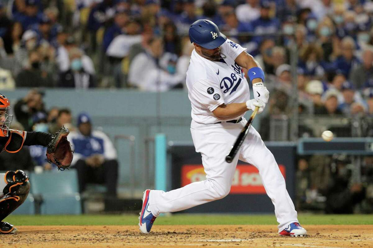 Los Angeles Dodgers Chris Taylor (3) flies out to center field during the second inning as the San Francisco Giants played the Los Angeles Dodgers in Game 3 of the National League Division Series at Dodger Stadium in Los Angeles, Calif. on Monday, Oct. 11, 2021.