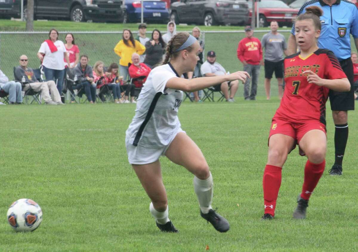 Ferris' Pia Nagel (7) goes after the ball against Saginaw Valley in soccer action on Sunday. (Pioneer photo/John Raffel)