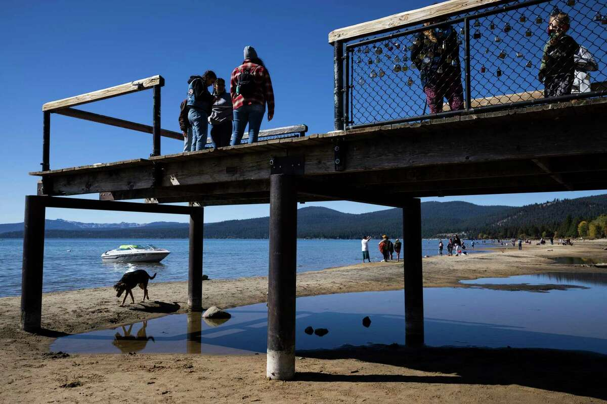 The pier no longer reaches Lake Tahoe at Kings Beach. The lake is in danger of falling below its natural rim, which means no water would flow out to the Truckee River.