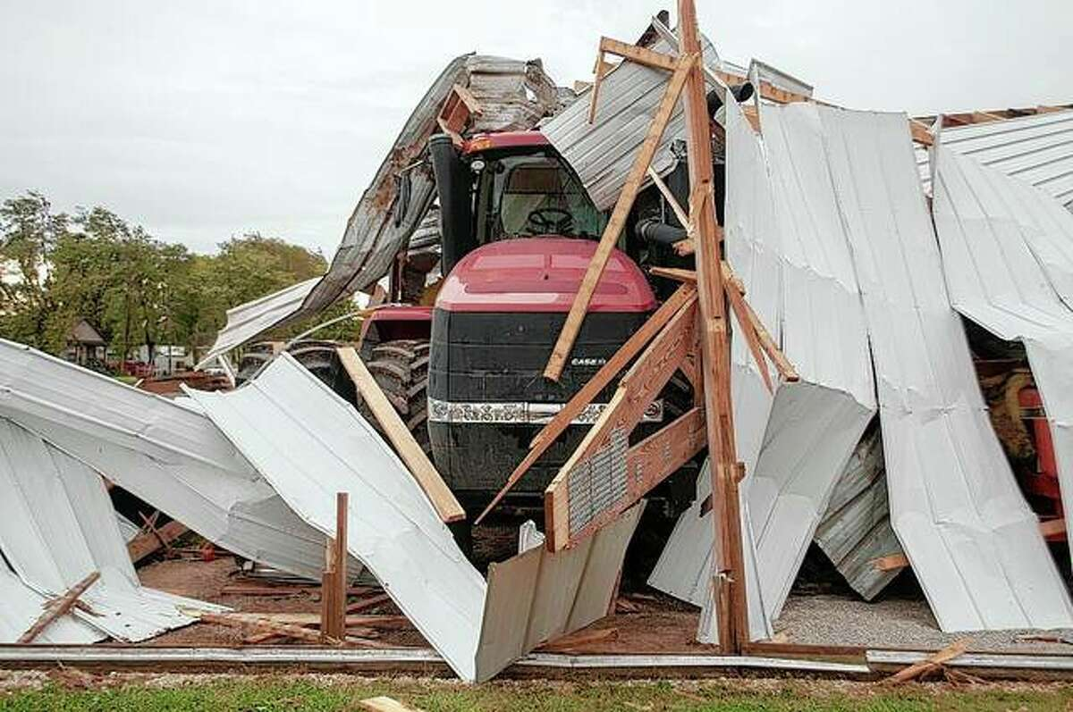 Farm equipment was destroyed in Wrights Monday afternoon after a tornado touchdown leaving a path of destruction.