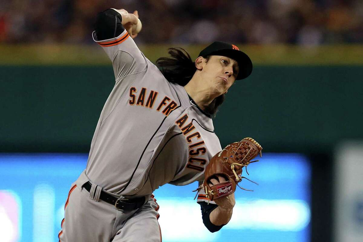 DETROIT, MI - OCTOBER 27: Tim Lincecum #55 of the San Francisco Giants throws a pitch against the Detroit Tigers in the sixth inning during Game Three of the Major League Baseball World Series at Comerica Park on October 27, 2012 in Detroit, Michigan. (Photo by Jonathan Daniel/Getty Images)