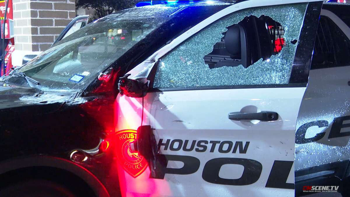 A tractor-trailer hit a barrier early Tuesday morning, closing lanes on Katy Freeway, according to authorities.