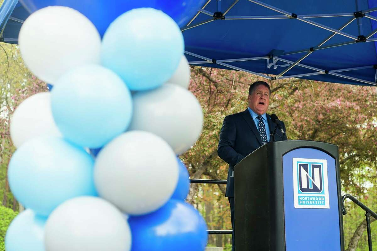 In this file photo, Northwood University President Kent MacDonald speaks during a groundbreaking ceremony for a new and improved Mall Walk through the main campus Thursday, May 6, 2021 at Northwood. (Katy Kildee/kkildee@mdn.net)