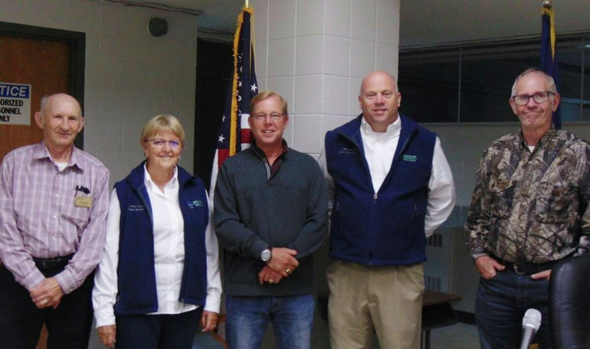 Pictured left to right at the township association meeting: MTA President Pete Kleiman, MTA District Director Connie Cargill, Lake County Township Association President Mark Venema, MTA Executive Director Neil Sheridan and Lake County Township Association Clerk Ernie Wogatzke. (Star photo/Shanna Avery)