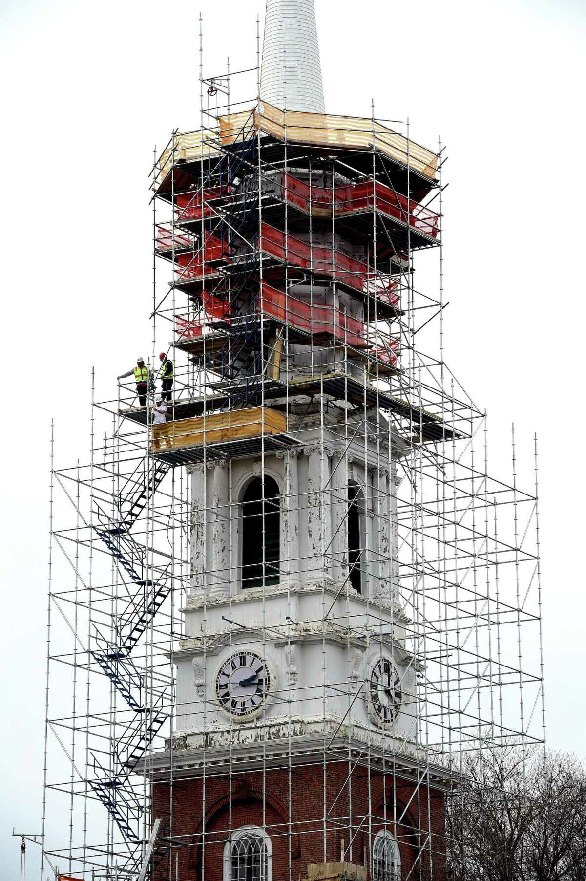 Work continues on the steeple of Center Church on the Green in New Haven on March 3, 2020.