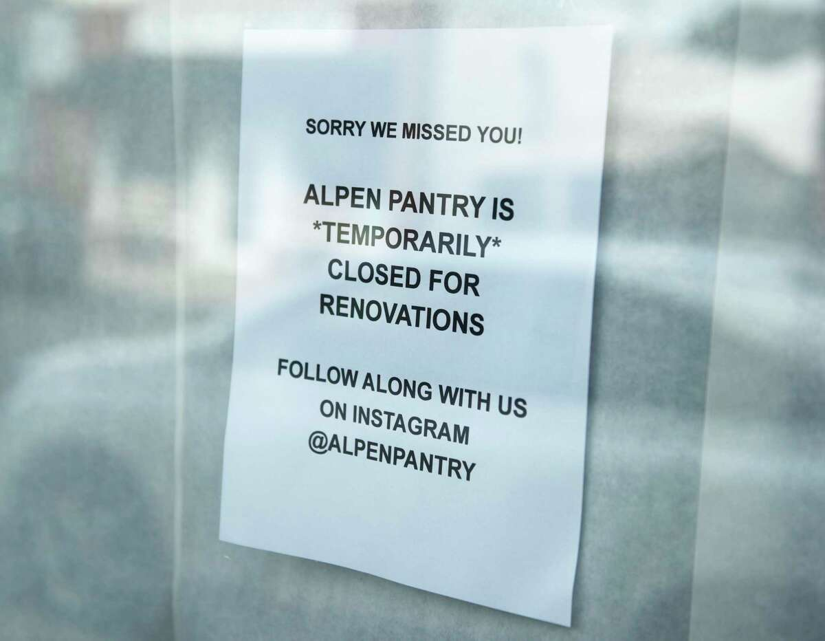 Alpen Pantry is closed for renovations in Old Greenwich, Conn. Thursday, Oct. 7, 2021. Owner Gary Kelley recently retired and sold the store to husband and wife team, Drew Nemetz and Frannie Willsey, who announced that the store will be closed for renovations with plans to reopen in early November.