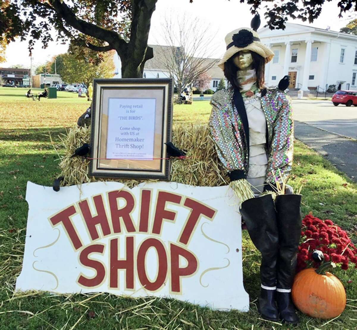 A scarecrow from the Homemaker Thrift Shop from a previous Scarecrows on the Green event.