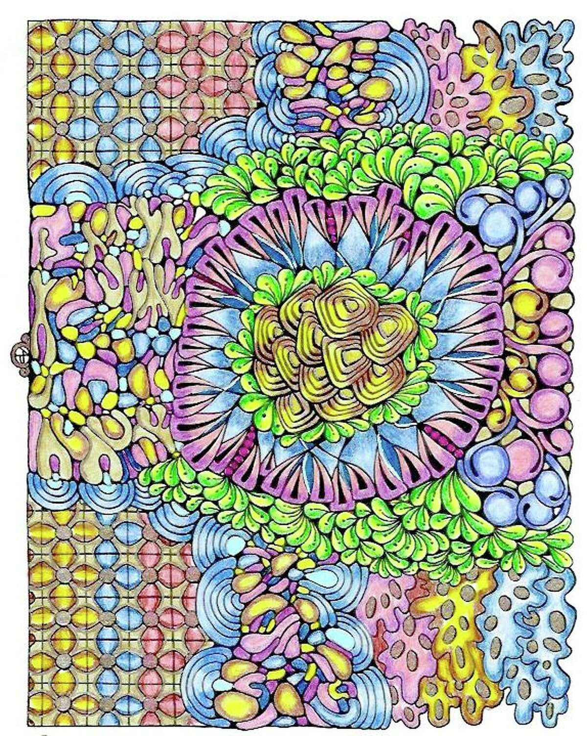 Color away your stress. Design by Angela Porter, colored by Sally Bahner