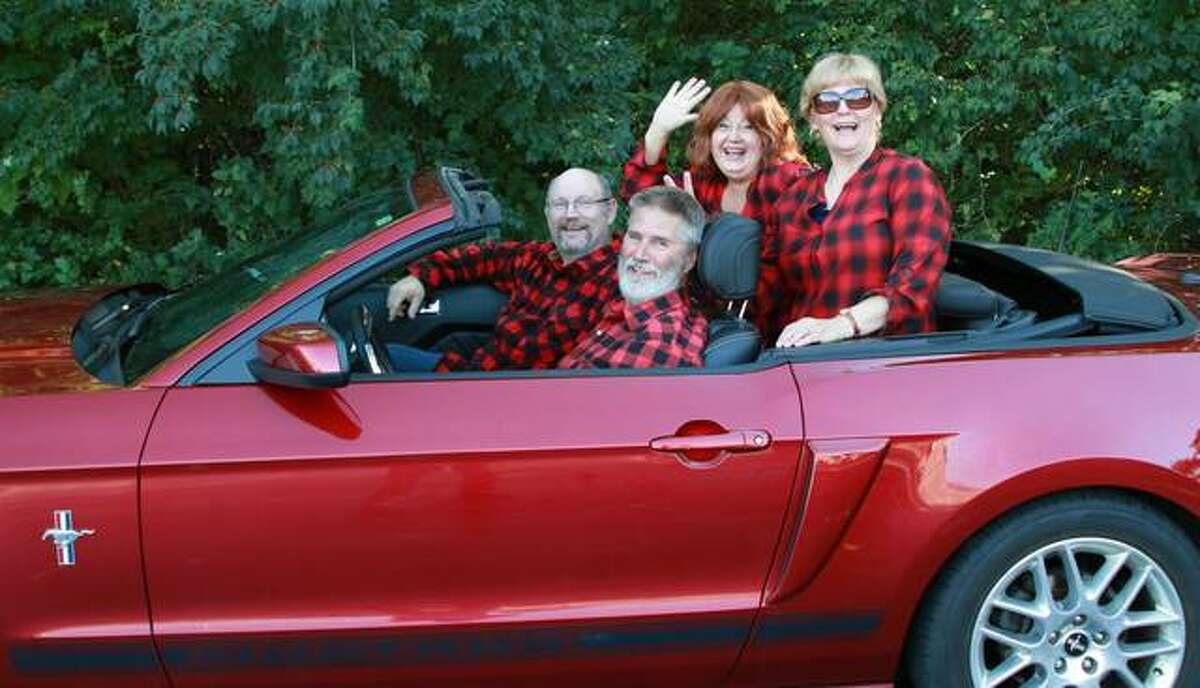 """Brant McCance and Jake Tenberge, the front seat, and Lee Cox and Gail Drillinger all try to come to terms with retired life in their own way in """"A Red Plaid Shirt"""" planned Oct. 22-31 at the Alton Little Theater."""