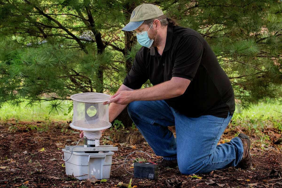 Research assistant Michael Olson, of the Connecticut Agricultural Experiment Station, demonstrates setting a mosquito trap in the kind of shady area that mosquitoes like.