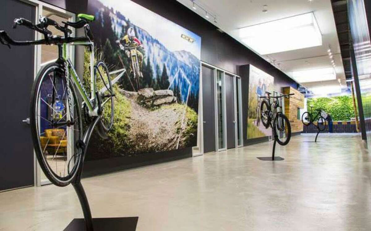 A file photo of Cannondale bicycles on display at the company's Wilton headquarters.