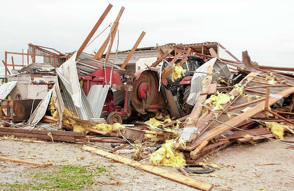The town of Wrights in Greene County was hit by a tornado Monday afternoon destroying two main buildings, one 70-foot silo and wrecking farm equipment. Although people were on the property while the tornado touched down, no injuries occurred.