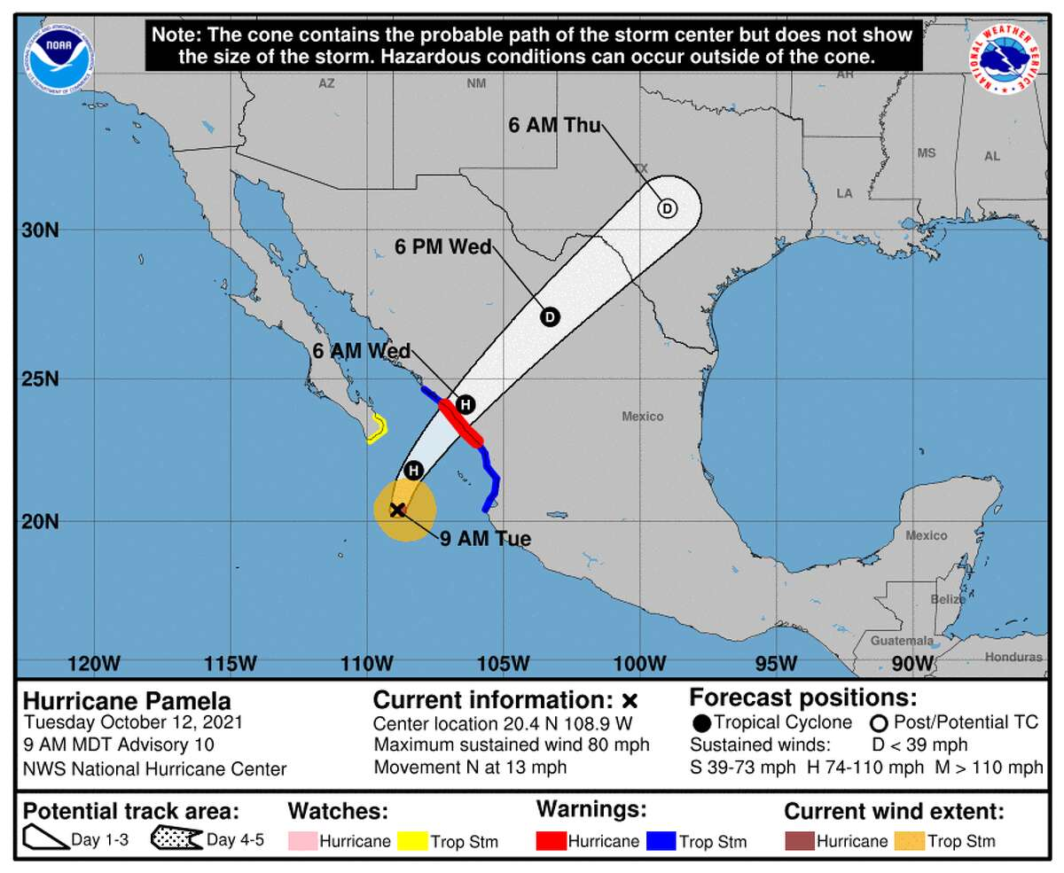 This graphic shows the forecast cone for Hurricane Pamela.