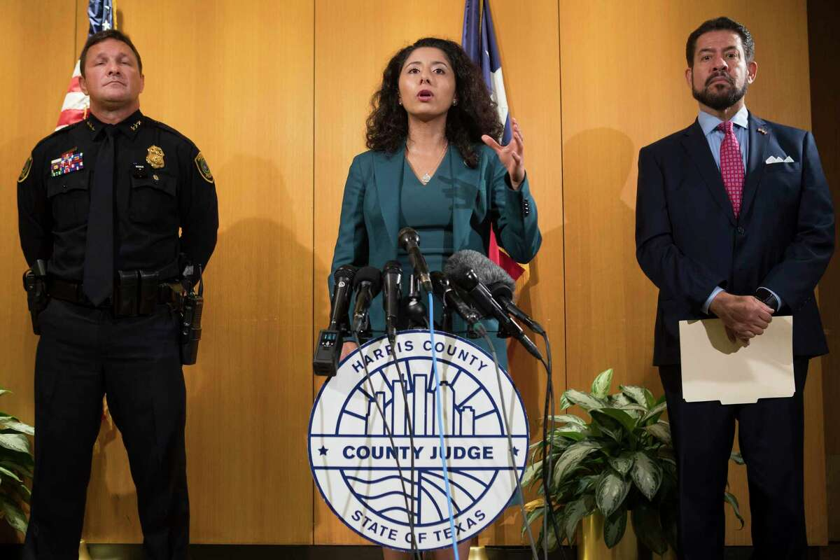Harris County Judge Lina Hidalgo and Precinct 2 Commissioner Adrian Garcia, left, shown here in July, announced a $50 million proposal Tuesday to fight crime by improving distressed neighborhoods.