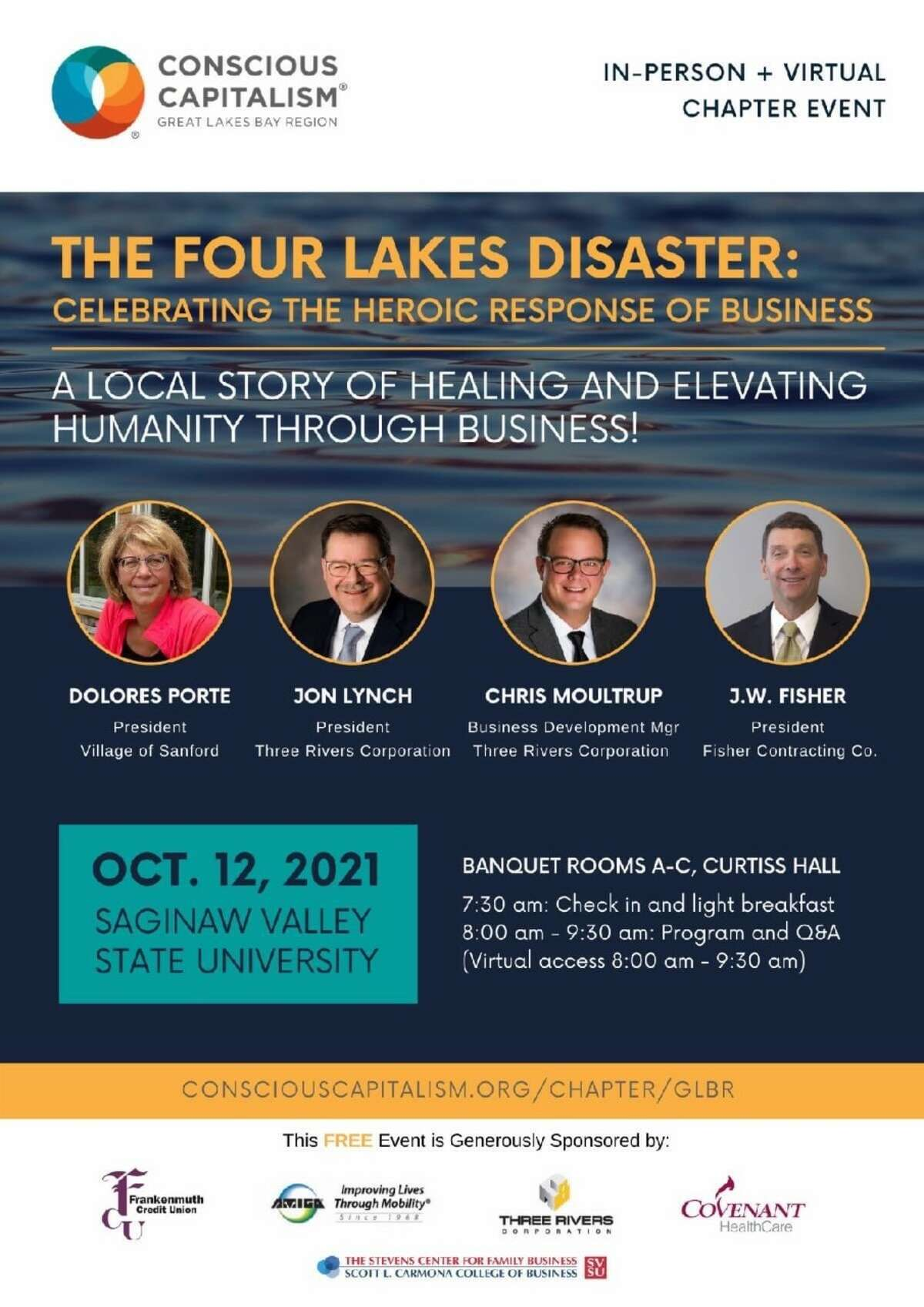 """""""Four Lakes Disaster: Celebrating the Heroic Response of Business"""" was held on Tuesday, Oct. 12 at Saginaw Valley State University. The event was also facilitated online through Zoom."""