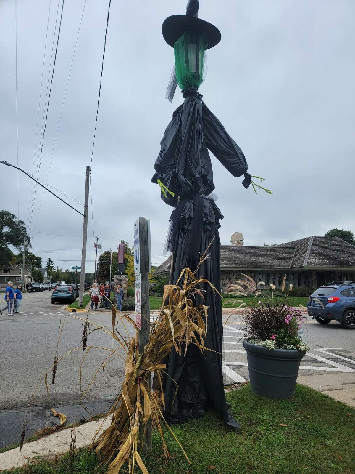A very tall witch was one of light poles decorated by area businesses and organizations for Fall Fest.