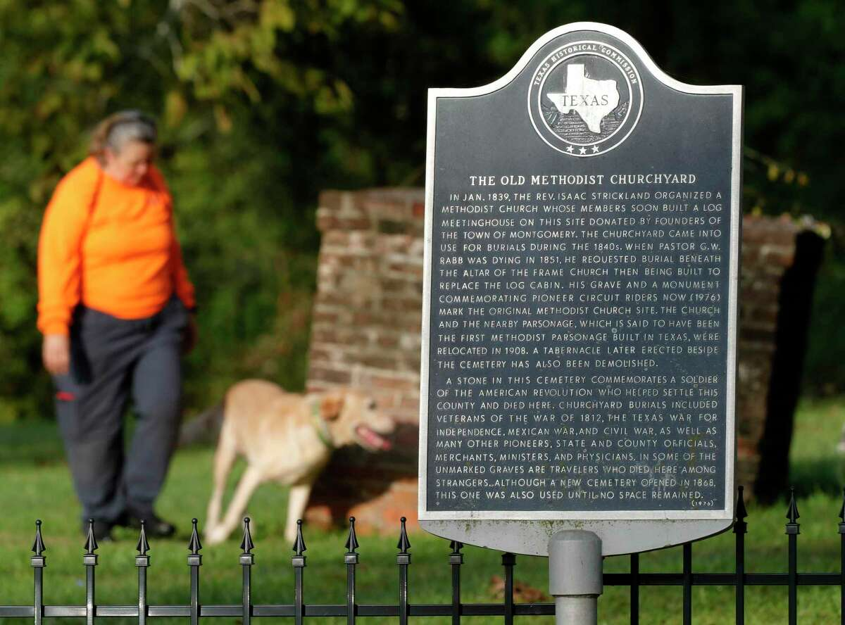Bean, a Labradore Retriever with K-9 Search and Rescue of Texas, works with his handler, Mary Jane, to locate unmarked graves at Old Methodist Cemetery, Saturday, Oct. 9, 2021, in Montgomery. Many early burials in the 181-year-old site are not believed to have stone markers.