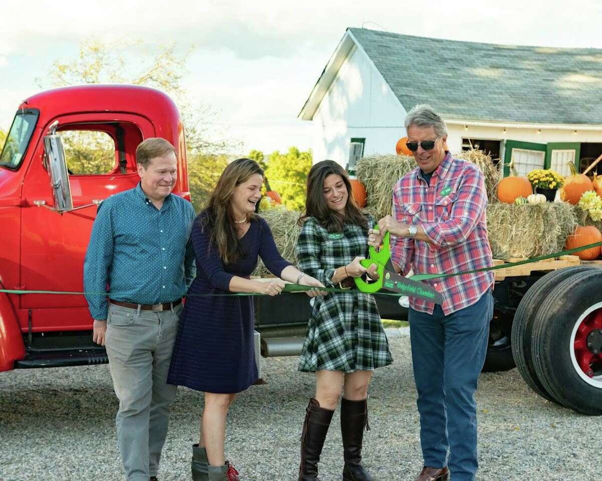 The Ridgefield Chamber of Commerce recently welcomed Ridgebury Farm & Stables to the community and celebrated the occasion with a ribbon cutting ceremony. Pictured are Geoffrey Morris, Sarah Grossman, Katy Schermann and Rob Zink.