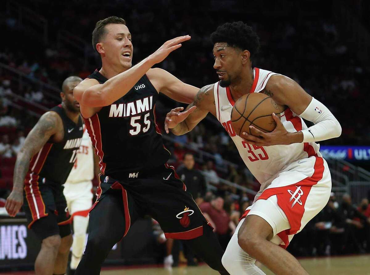 Christian Wood, driving against Miami's Duncan Robinson, has one more preseason game to get in flow with Rockets.
