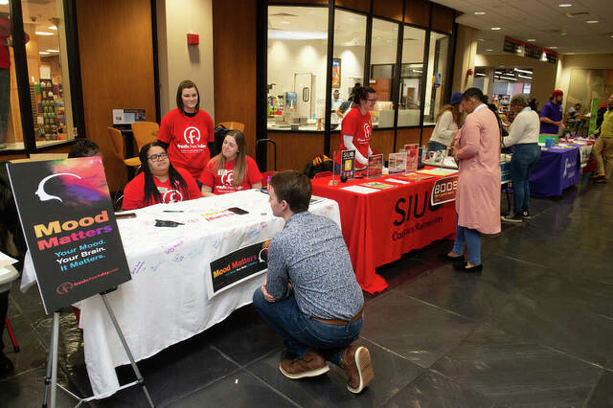 Counselors from Southern Illinois Edwardsville talk to students during Fresh Check Day in February 2019. The free event, which is organized by SIUE Counseling Services, is designed to bring entire campus communities together to support student mental health.