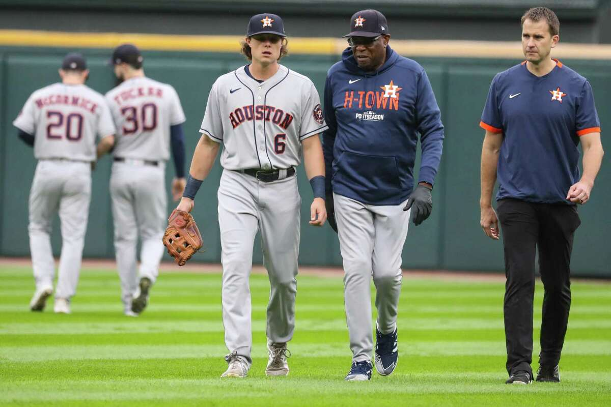 Astros outfielder Jake Meyers, who left Game 4 against Chicago with a shoulder injury, is uncertain for the ALCS but said he felt good at Thursday's workout.