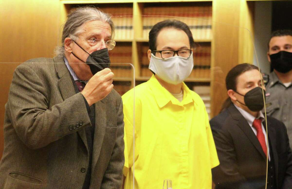 Qinxuan Pan, accused of the slaying of Yale graduate student Kevin Jiang, appears in court Tuesday Oct. 12, 2021 with his attorney, Norm Pattis.