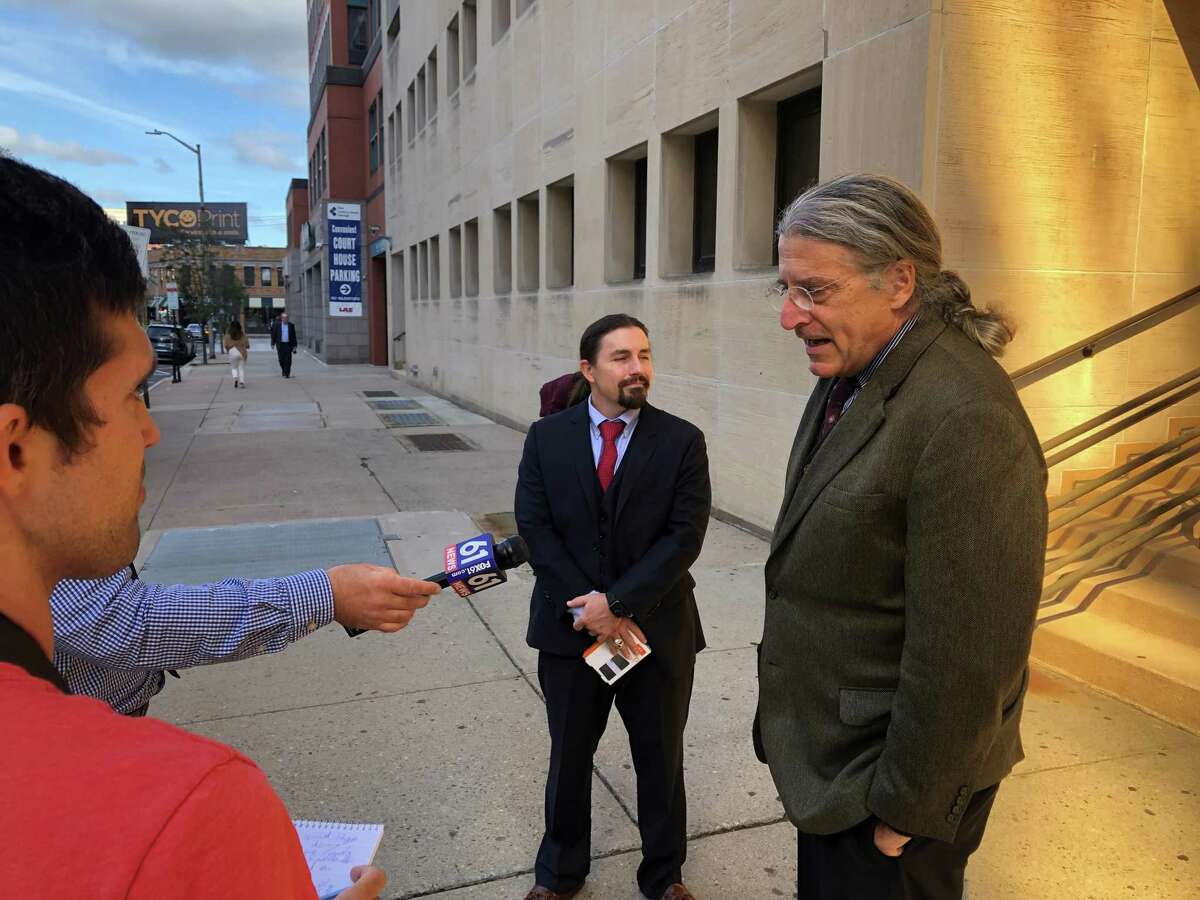 Attorney Norm Pattis, flanked by Attorney Kevin Smith, speaks to the press after a court appearance Oct. 12, 2021, in the case of Qinxuan Pan, accused of the slaying of Yale graduate student Kevin Jiang.