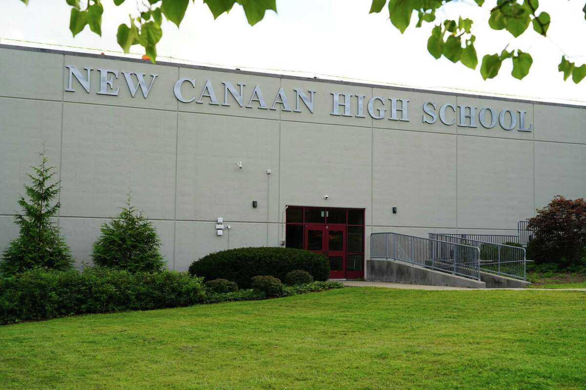 New Canaan High School building new sign, September 2021