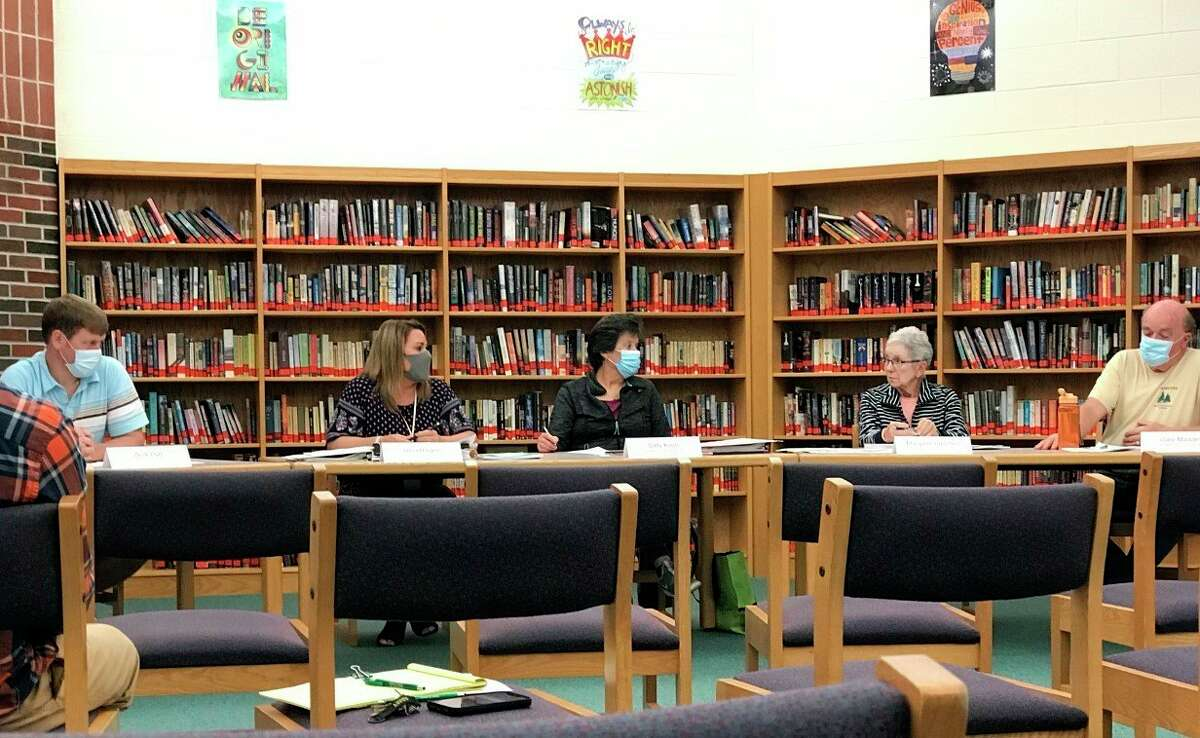 The Onekama Consolidated Schools Board of Education has a discussion regarding the expulsion of a student duringits meeting on Monday night. (Kyle Kotecki/News Advocate)