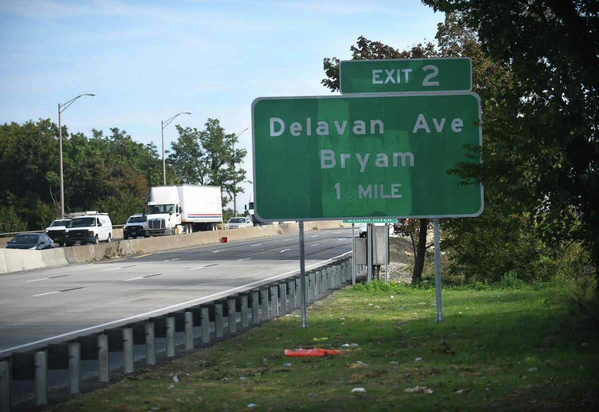 """A new sign along northbound I-95 misspells Byram as """"Bryam"""" just across the state line in Port Chester, N.Y., on Tuesday, Oct. 12, 2021."""