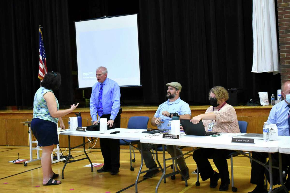 At their monthly meeting on Oct. 11, the Chippewa Hills School District board of education discussed the proposal to begin the retirement and replacement processof the school logos. (Pioneer photo/Olivia Fellows)