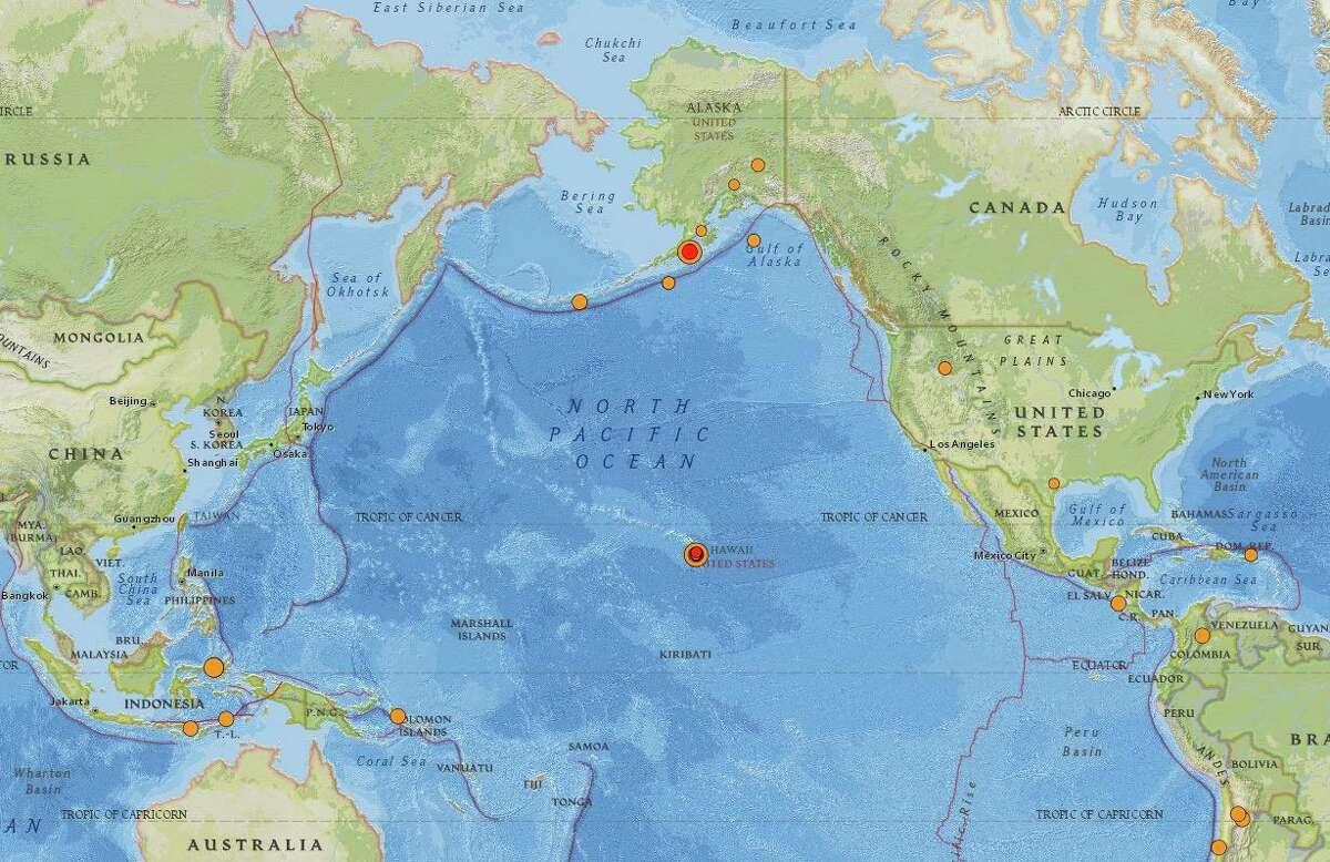 This map from the U.S. Geological Survey on Monday shows earthquakes of magnitude 2.5 or greater over the past two days, including two temblors Sunday measured at 6.1 and 6.2 magnitude near Hawaii's Big Island and a 6.5 magnitude quake early Monday off the coast of Alaska.