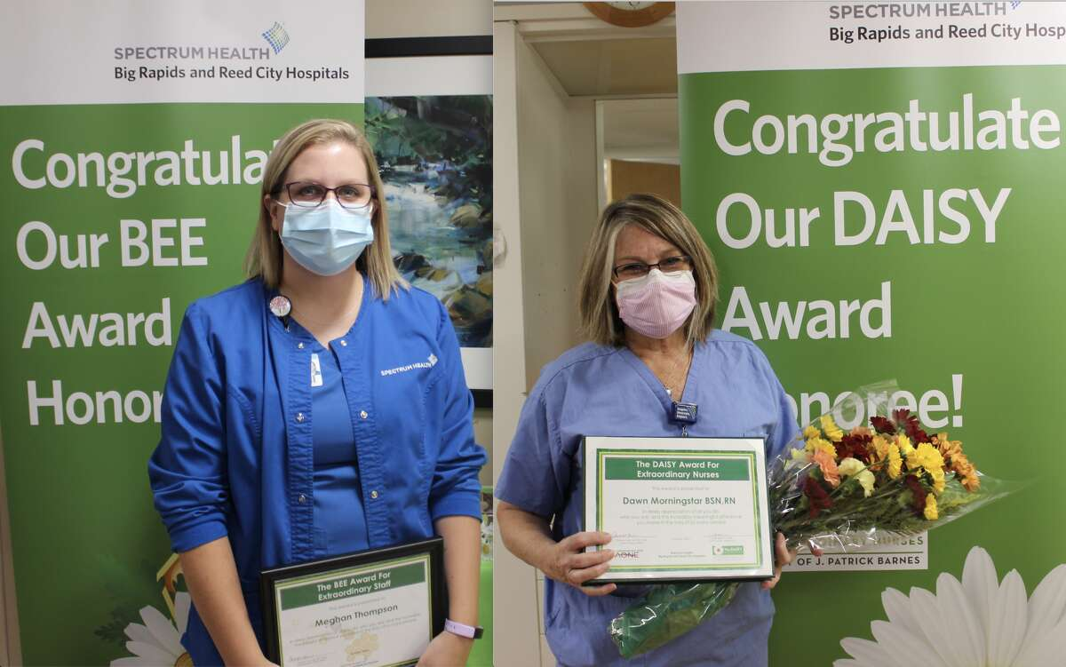 (Left): Mammographer Meghan Thompson was given the BEE Award. (Right): Surgical nurse Dawn Morningstar, RN, was given the DAISY Award after being nominated by a patient.