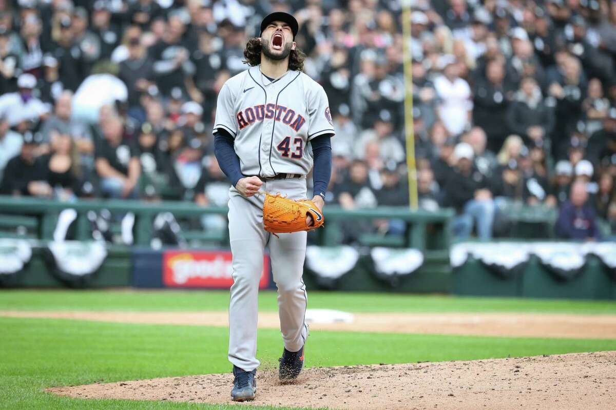 Houston Astros starting pitcher Lance McCullers Jr. reacts after striking out Chicago White Sox Cesar Hernandez to end the fourth inning in Game 4 of the American League Division Series Tuesday, Oct. 12, 2021, in Chicago.