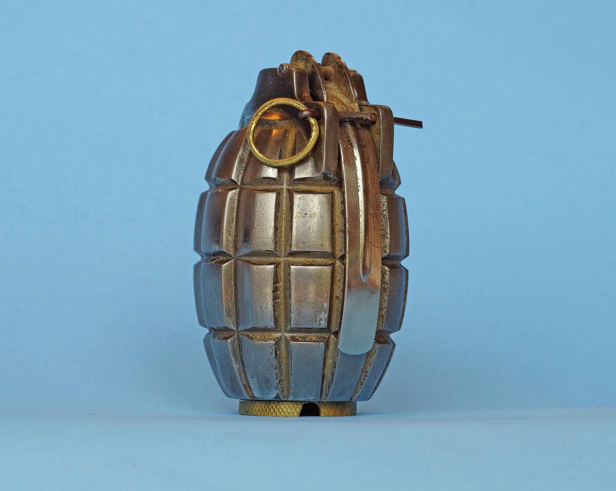 "A 1916 World War I ""Mills Bomb"" hand grenade."