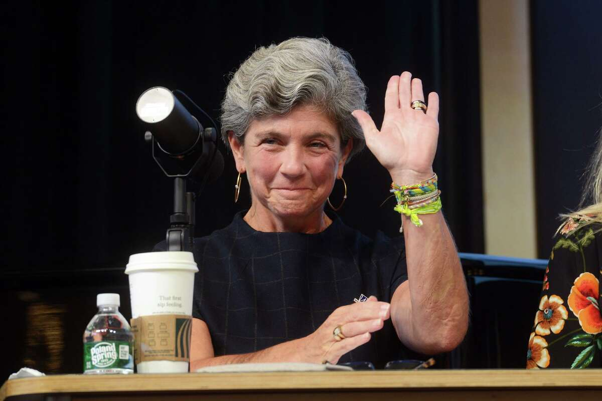 Current Second Selectman Jennifer Tooker, a Republican, is introduced during a debate for candidates for First Selectman in Westport, Conn. Oct. 12, 2021.