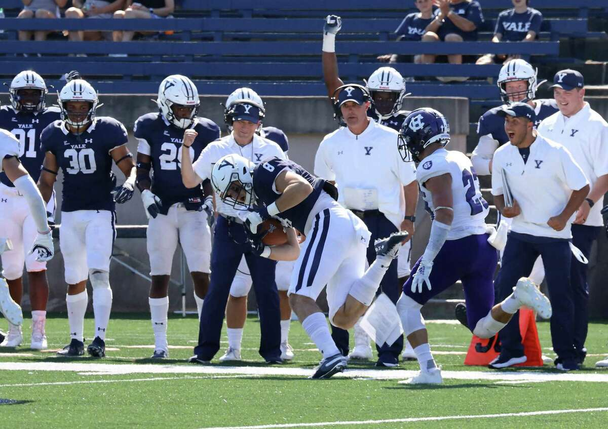 Yale tight end Patrick Conte make a catch against Holy Cross.