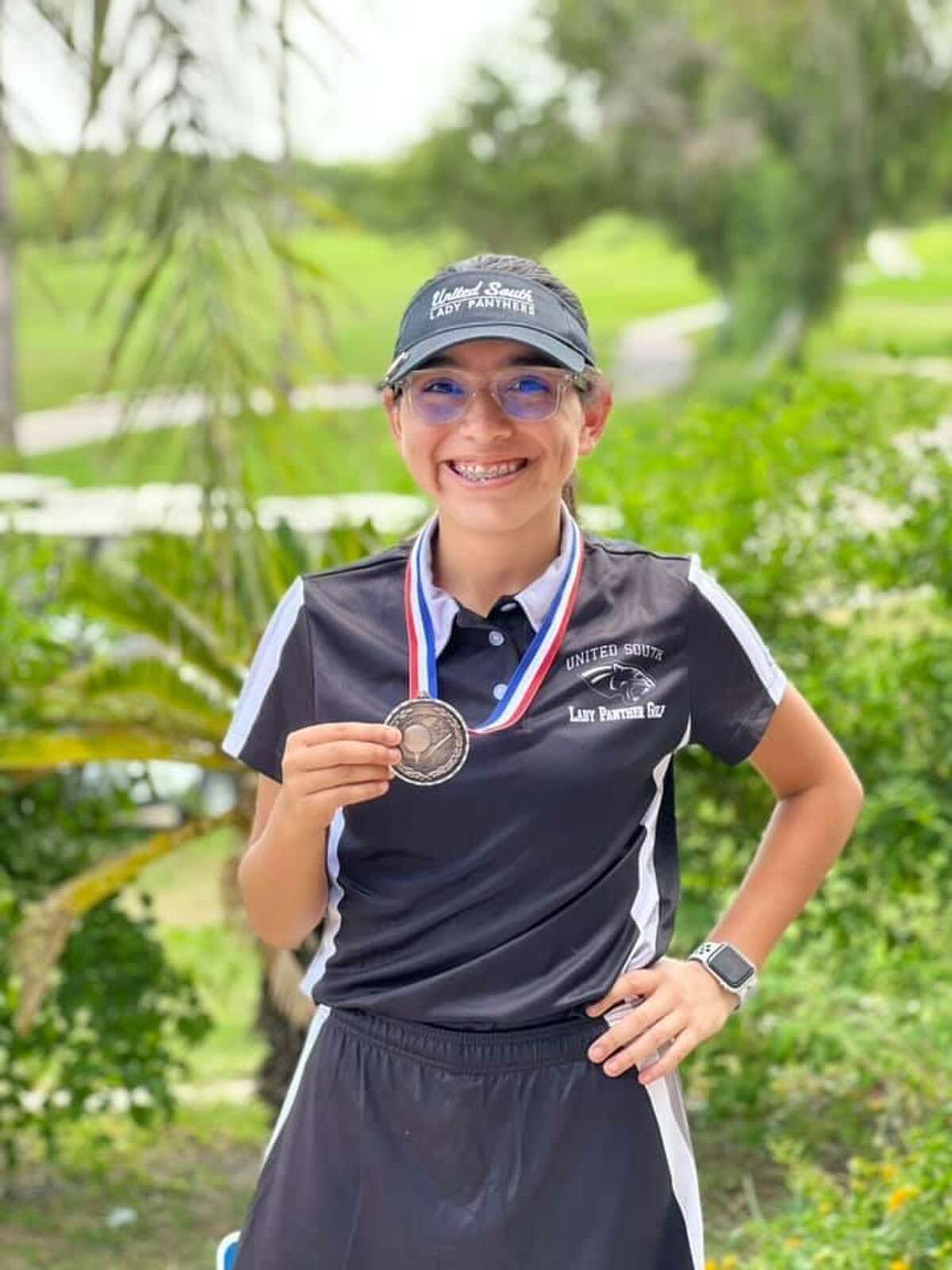 United South freshman golfer Leslie Rodriguez finished in third place at her first high school tournament.