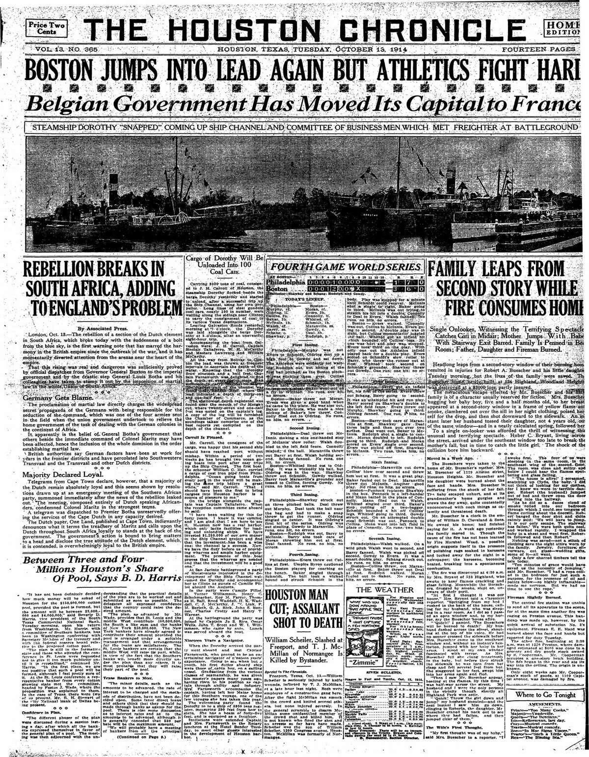 Houston Chronicle front page from Oct. 13, 1914.