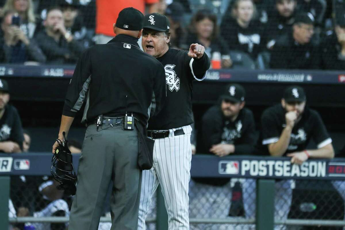 Chicago White Sox manager Tony La Russa argues with home plate umpire Vic Carapazza after White Sox first baseman Jose Abreu was hit in the shoulder by a pitch from Astros reliever Kendall Graveman during the eighth inning Tuesday. La Russa claimed Abreu was hit intentionally, which the Astros denied.