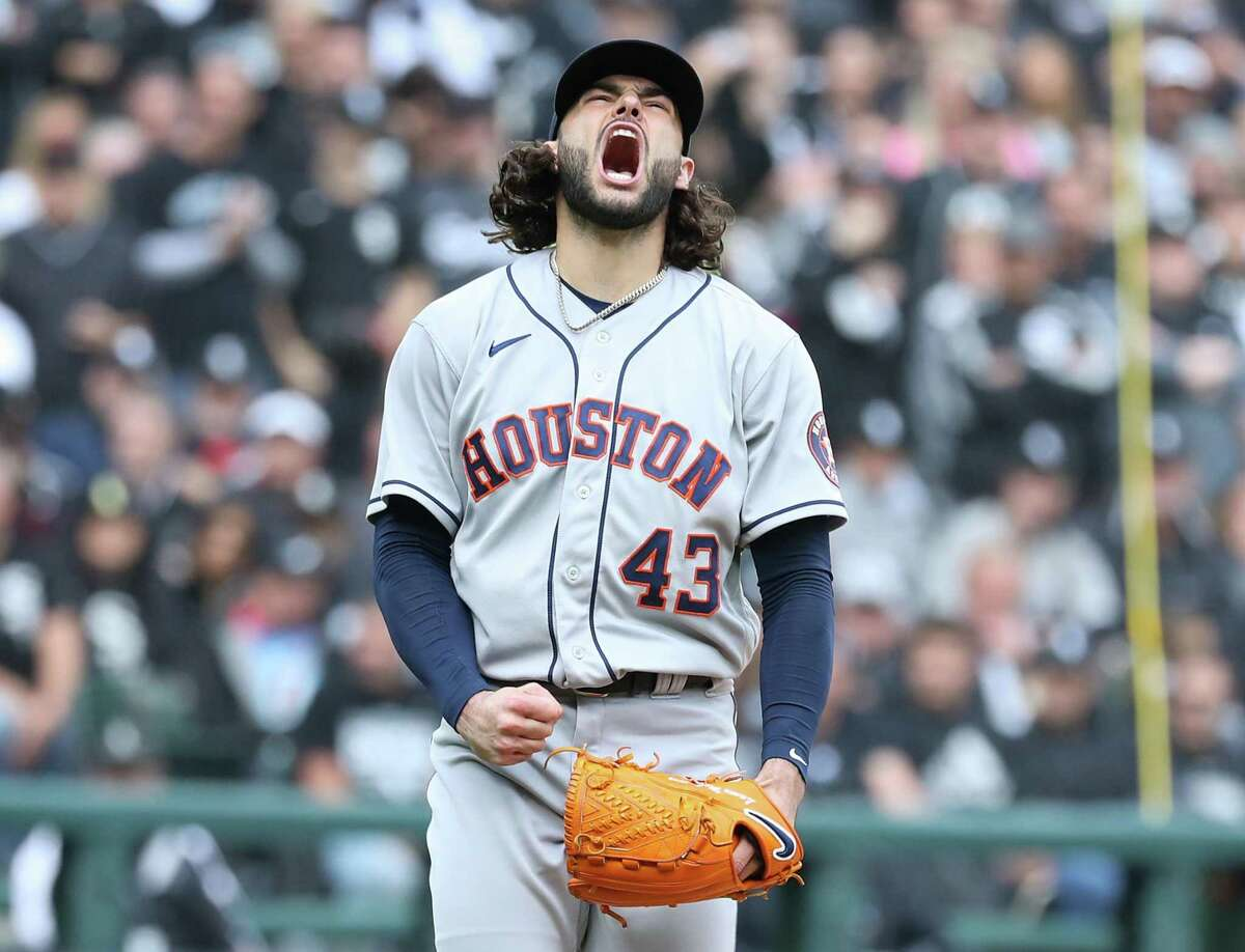 Astros pitcher Lance McCullers Jr. was psyched after striking out the White Sox's Cesar Hernandez to end the fourth inning of Tuesday's ALDS clincher.
