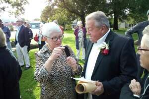 Arthur Mattiello, pictured with his wife Joyce, was honored Tuesday morning at Coe Memorial Park as Torrington's 2021 Italian Mayor of the Day, an award presented by Torrington UNICO.
