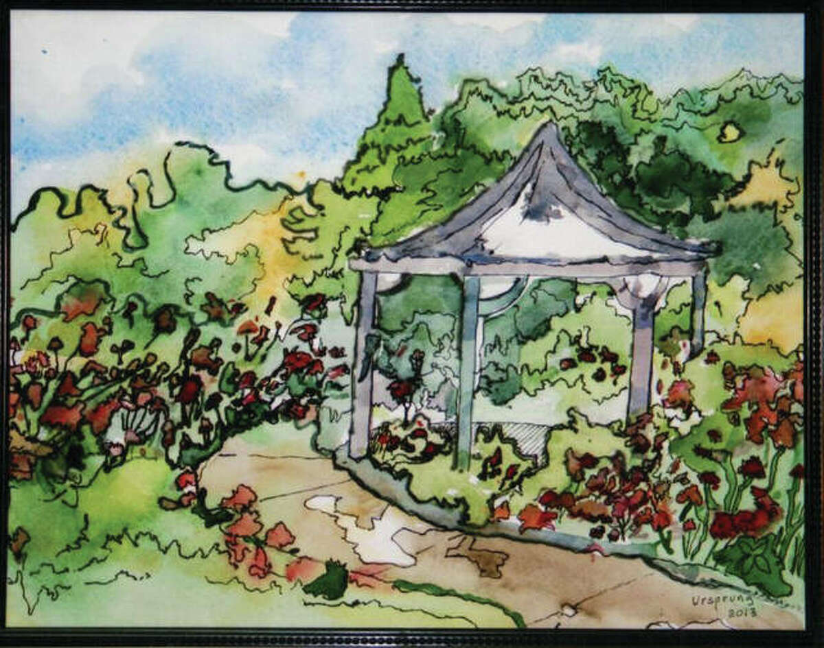 """Regional artist Gene Ursprung will be featured in the Asbury Village art show running through the end of the month. This piece of Ursprung art is named """"Gordon Moore Rose Garden."""""""