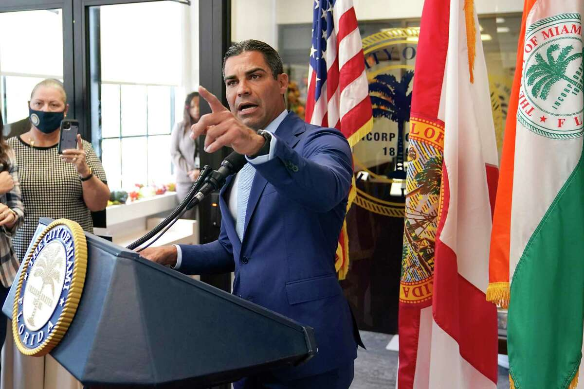 Miami Mayor Francis Suarez speaks during a news conference at Miami City Hall, Tuesday, Oct. 12, 2021, in Miami. Suarez took questions on Miami police Chief Art Acevedo who was suspended with the intention of firing after a tumultuous six-month tenure. (AP Photo/Lynne Sladky)
